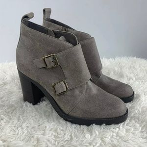 Ralph Lauren Gray Taupe Leather Ankle Bootie